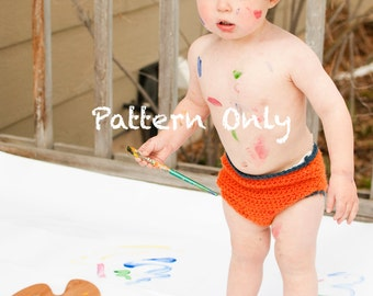 Baby Artist Hat and Diaper Cover Crochet Pattern PDF