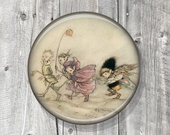 Pocket Mirror - Photo Mirror - Rackham - Fairy - FAIRIES - Fantasy - Compact Mirror Vintage Illustration - gift under 5 - party favor A112