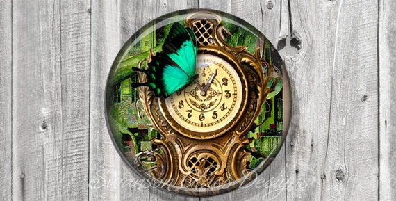 Pocket Mirror - Steampunk Paris Clock Butterfly Photo Mirror - Compact Mirror - Butterfly - Wedding Favor - Bridesmaid Gift A109