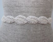 Beaded Rhinestone Rope bridal wedding sash / belt, Nautical knots, twisted rope design