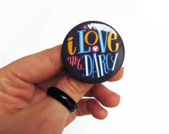 I love Mr Darcy pin for Jane Austen fans. Hand type button.