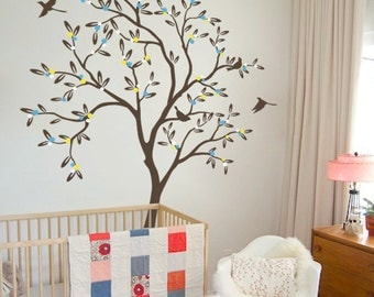 """Baby Nursery Tree Wall Decal Wall Sticker - Tree Wall Decal - Tree Decals - Large: approx 85"""" x 54"""" KC012"""