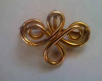 Antique 10k Yellow Gold Chatelain Brooch/ Art Nouveau Watch Pin