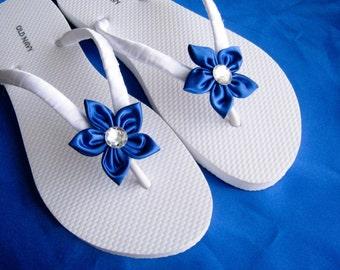 Royal Blue Floral Bridal Flip Flops / Bridesmaid , Bridal Shower, Flower Girl, Birthday Party, Favor