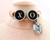 X O Bracelet Vintage Typewriter Key Jewelry Typewriter Charm Bracelet Unique Bridesmaid Anniversary Gift