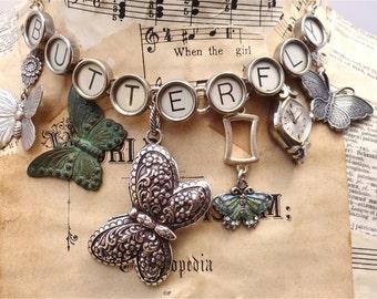 BUTTERFLY Necklace Typewriter Key Steampunk Bulova Watch Silver Charms Butterflies