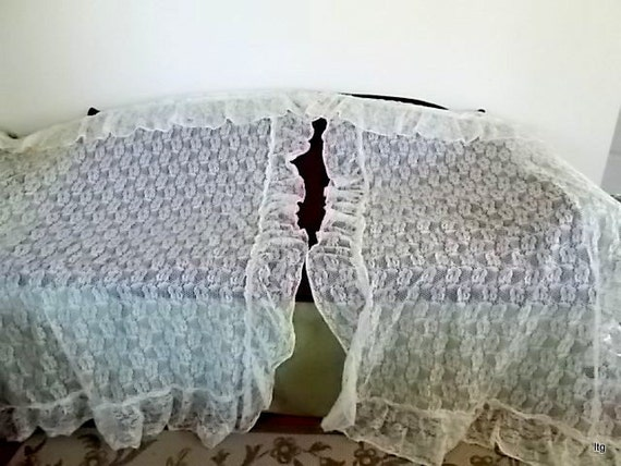 Vintage Ivory Lace Curtains One Window Two by CapeCodLaurieDesigns