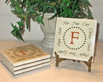 Personalized Ceramic Coaster Sets - Family Gift; Housewarming gift