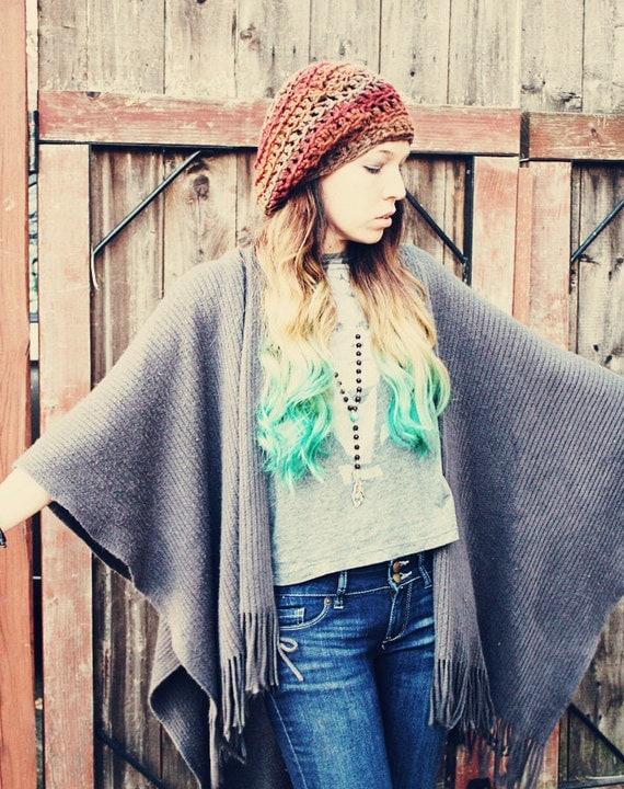 Handmade  Crochet Winter Hat, Unisex, Women's Hat, , Winter Hat, Hippie Hat, Beret,Slouchy Hat
