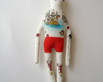Salvador Dali - art doll-Tattoo Sleeve- Plush Doll- made to order soft sculpture