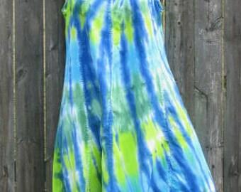 Ocean or Rainbow Tie-Dye Rayon Short Tank Dress