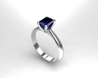 Blue sapphire ring, platinum, engagement ring, emerald cut, sapphire engagement, platinum ring, solitaire, crown setting