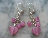 Pretty In Pink Glass Heart Earrings - Always Pretty In Pink