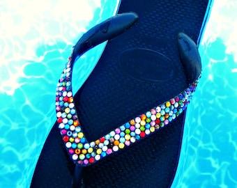 Custom Rainbow Crystal Flip Flops w/ Swarovski Jewels Havaianas or Cariris Wedge Beach Shoes Multi Colored Confetti Rhinestones Magic Carpet