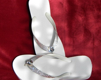 Custom Wedding Havaianas or Cariris Wedge heel Bling Crystal flip flops w/ Swarovski Rhinestone Vintage center  +70 gem choice Beach Shoes
