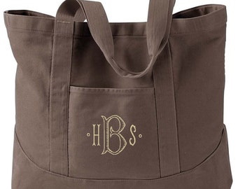 Monogrammed  Stone Washed Tote Bag - Personalized Canvas Tote Bag  in 7 colors - Large Canvas Tote Bag