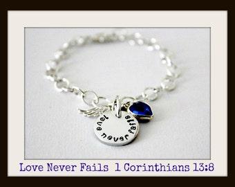 Christian Jewelry  Love Never Fails Sterling Silver Charm Bracelet