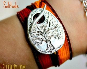 Tree Jewelry ~ Solitude Handcrafted Artisan Silk Wrap Bracelet, Fall Bracelet, Orange Bracelet