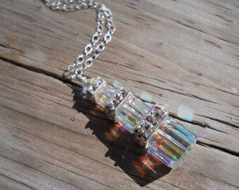 Swarovski sterling silver crystal tower necklace, in ab crystals.. April birthstone, mothers  necklace, bridesmaid necklace
