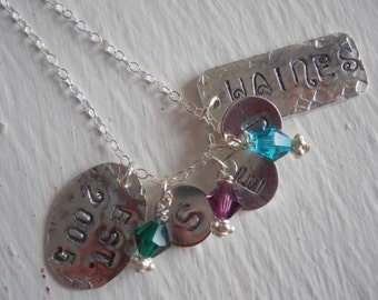Hand stamped sterling silver necklace with swarovski crystals, great gift for a mother, grandmother, friend, personalized necklace