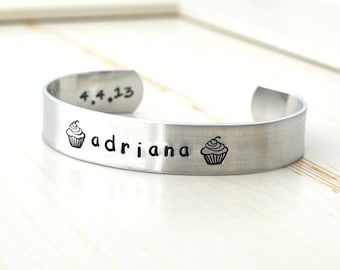 Stocking stuffer for kids, Christmas Gifts for kids, Kids Personalized metal cuff bracelet, baby bracelet, First communion gifts, Baptism,