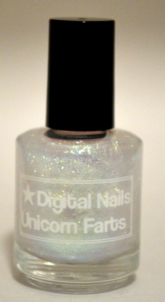 Unicorn Farts: Digital Nails green to blue colorshift iridescent topcoat