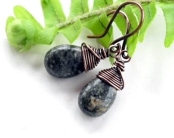 Green teardrop earrings -  ryolite gemstone dangles copper wire wrapped