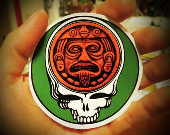 Steal Your Face Center of Aztec Calendar Green and Brown Series High Quality Vinyl Sticker