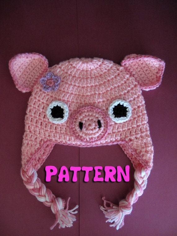PATTERN: Crochet Earflap Pig Hat