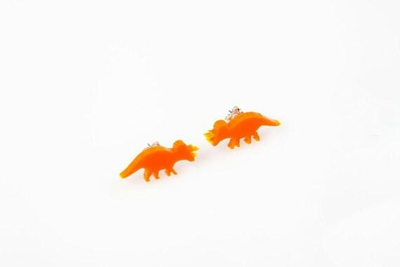 Triceratops Dinosaur Stud Earrings. Dinosaur Earrings. Dinosaur Jewellery. Laser Cut Acrylic Dinosaur Studs. Perspex. Laser engraved.