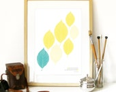 Spring Collection Poster Art Print with leafs and pastel spring colors vibrant bright lemon and pastel soft teal with pablo Neruda quote art