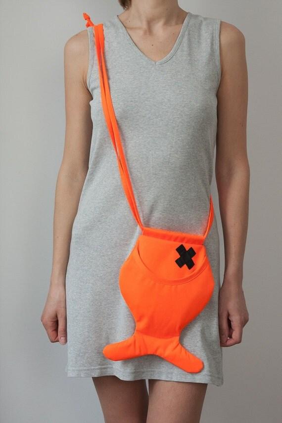 Neon Orange Fish Purse Unisex Fish Bag Orange Bright Cute Hipster Party Bag  Cotton Bag Shoulder Bag Creepy Cute Halloween