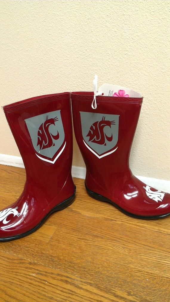 Wsu Custom Made To Order Rain Boots Replica Collegiate