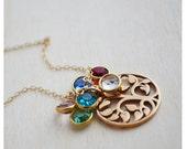 Tree of Life Necklace - Mommy Jewelry - Gold Filled Grandma Necklace - Birthstone Jewelry - Swarovski Crystal