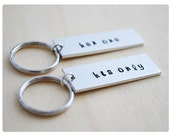 Her One, His Only Keychains - Custom Couple Key Rings Wedding Gift - Boyfriend & Girlfriend Long Distance Keychains