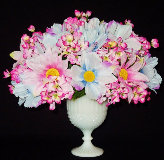 Silk flower arrangement pink blue daisies by for Pink and blue flower arrangements