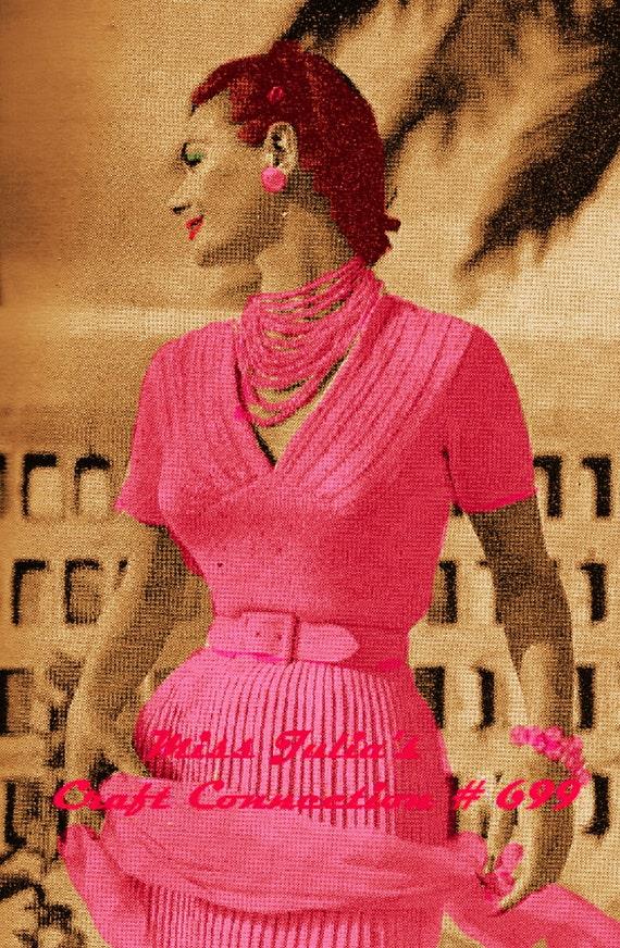 Vintage 1950s Vogue V-Neck Evening Blouse with Lace Panels 699 PDF Digital Knit Pattern