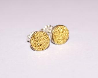 Sterling Silver Druzy Earrings, Druzy Studs, Gold Druzy Earrings, Drusy Earrings, Small Druzy Earrings,Bridal Jewelry Little Druzy Earrings