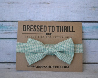 Mint Aqua Turquoise & White Mini Houndstooth Adjustable Baby / Toddler / Child Bow Tie