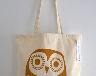 Owl Tote Bag, Hand Screen Printed Retro Owl Design in Mustard