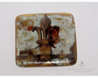 Fleur de Lis Art Paperweight - Artisan Glass - Photo Glass Art - New Orleans Paperweight - Fleur de Lis Home Decor - theRDBcollection