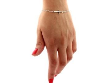 Sideways Cross Bracelet Sterling silver       (B-02)