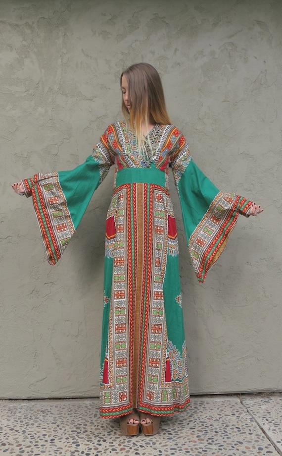 Vintage 70s Bell Sleeve Kaftan Ethnic Maxi Caftan Dress