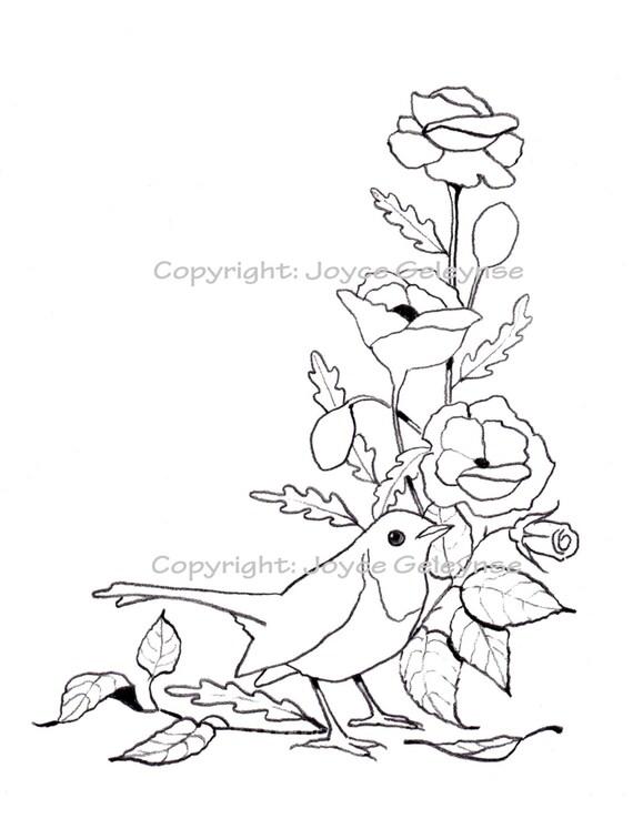 Hand Drawn Stamp Clip Art Embroidery Design English Robin