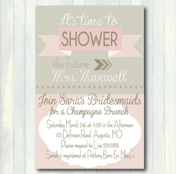 Items similar to Pink and Gray Bridal Shower Invitation ...