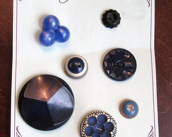 Vintage 1950's Assorted Blue Plastic Buttons (Card of 7)