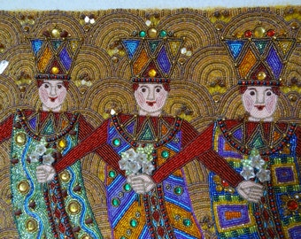 25%OFF SALE, Dancing Visigoths, Beaded Wall Painting, Beads, Charms and Picasso Flower Beads