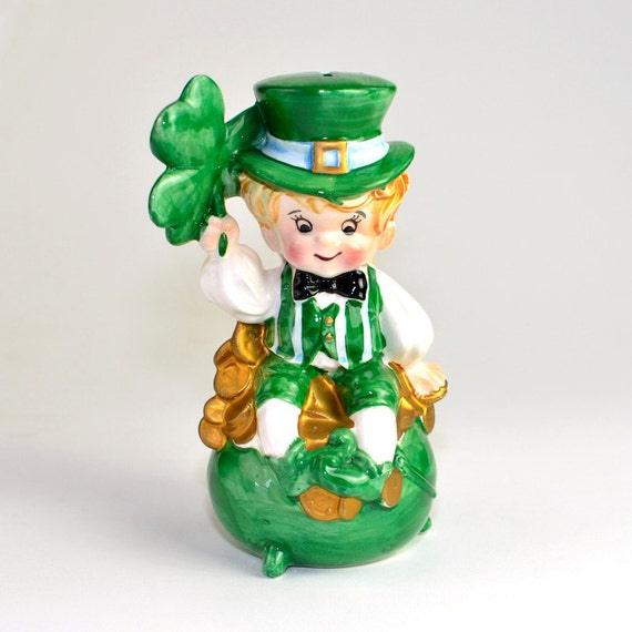 St. Patrick's Day Lefton Bank Leprechaun Figurine - Hand Painted Ceramic, Lucky Clovers, Shamrocks, Pot of Gold - Vintage Home Decor