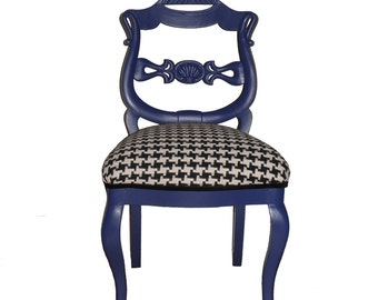 Refurbished Upholstered Blue and Houndstooth Accent Chair
