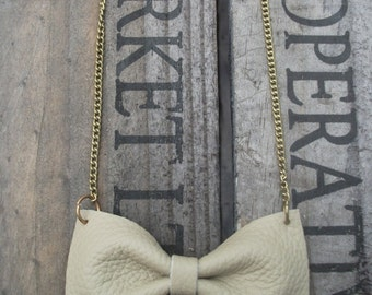 Handmade Cream Leather Bow Tie Necklace